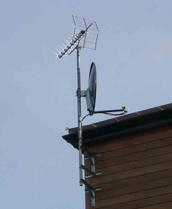 Aerial and 85cm dish for communal system